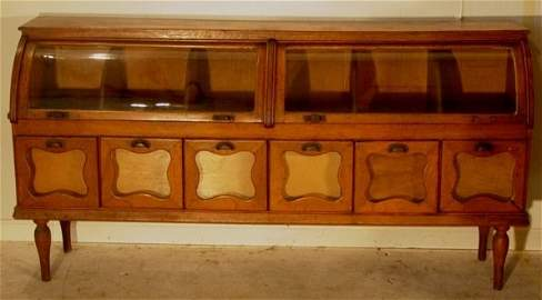 2108A: important country store oak cabinet