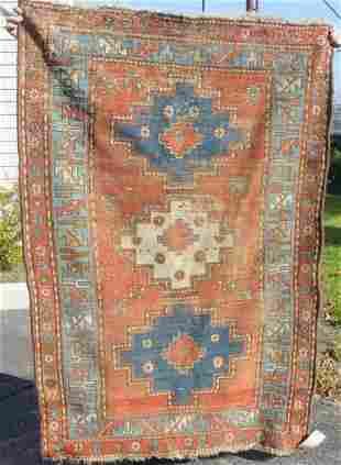 antique Kazak oriental scatter rug
