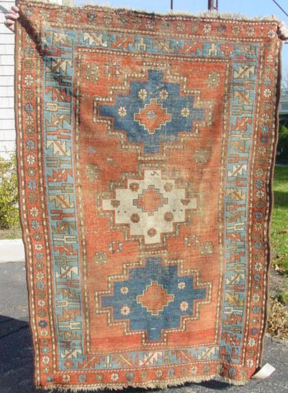 5: antique Kazak oriental scatter rug