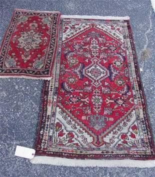 2 Oriental Hamadan scatter rugs