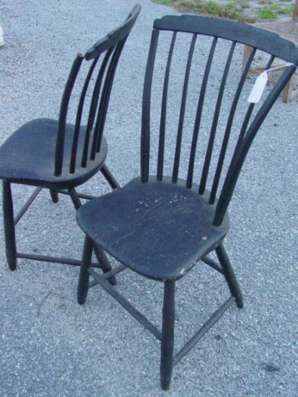 24: Pair step back Windsor chairs