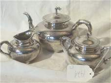 142A 3 piece sterling silver teaset