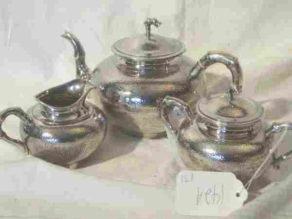 142A: 3 piece sterling silver teaset