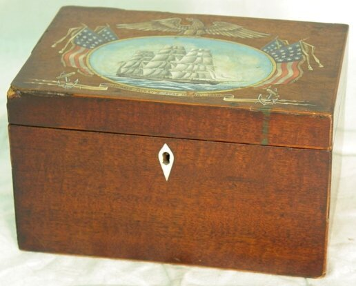 20: Antique ship decorated tea caddy
