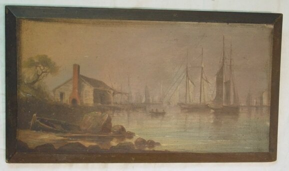 46: Oil on panel of ships in harbor
