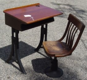 1001: antique child's school desk with chair