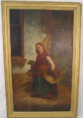 1003: Oil on board of woman, 1863