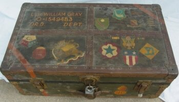 1008: WWII military trunk with decoration