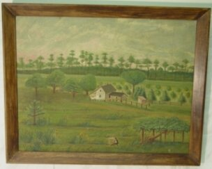 1014: 19th c. primitive oil painting on canvas