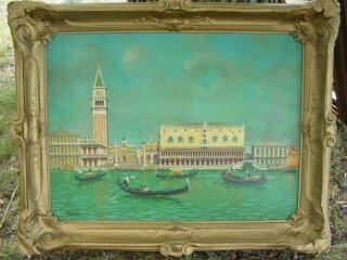 1022: Venice canal oil painting on panel