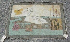 1060: Antique hooked rug - swan