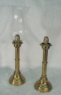 1145: Pair antique brass candle lamps