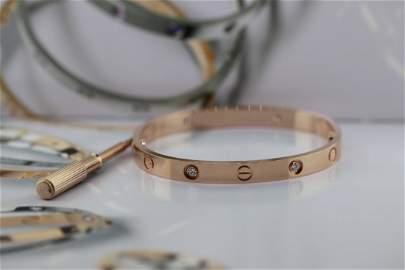 Cartier LOVE Bracelet 18k Rose Gold 4 Diamonds Sz 17
