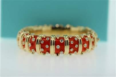 Tiffany & Co. Schlumberger Diamond Enamel Wide Bracelet