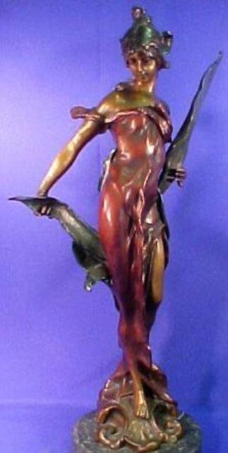 """Diane by Roche Bronze Sculpture 30"""" X 9"""" Lost Wax"""