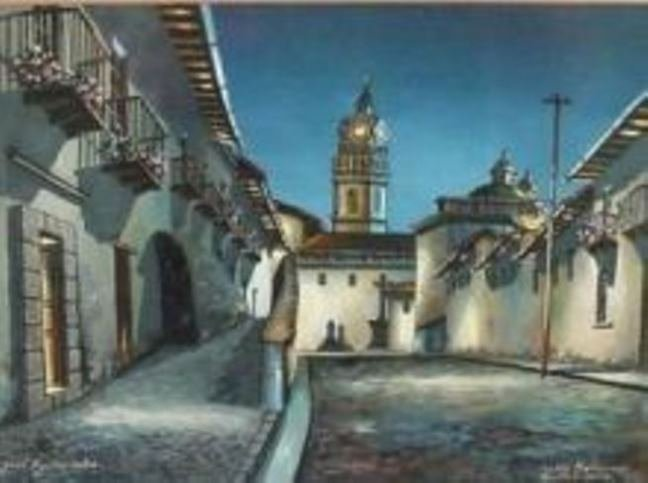 Original Quito Ecuador Painting Jose Aguirre Diaz - 2