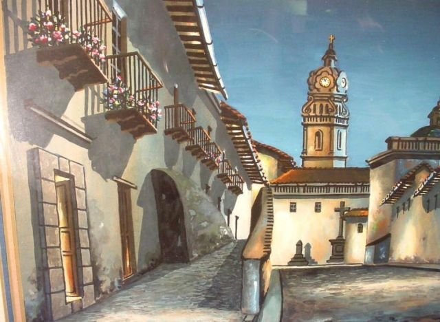 Original Quito Ecuador Painting Jose Aguirre Diaz - 3