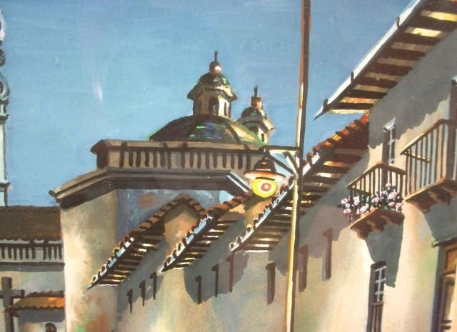 Original Quito Ecuador Painting Jose Aguirre Diaz - 4