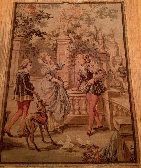 Antique Tapestry Courtship Scene Made in Belgium