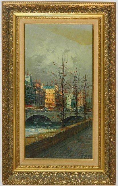 """Artist Signed Oil on Canvas, Paris Le Pont 31"""" X 19"""""""