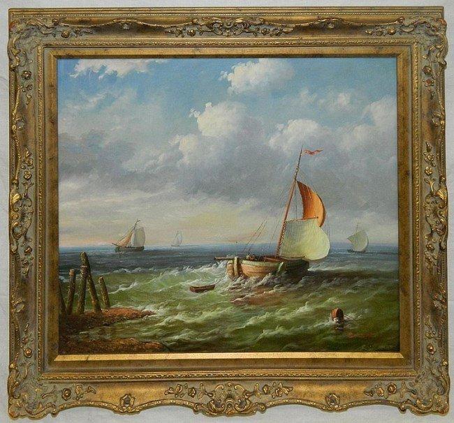 "Oil on Canvas Signed Hofner, Sailboat Scene 26"" x 30"""