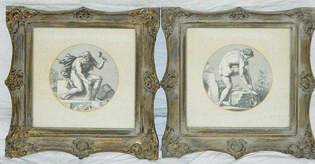 "Engravings Framed Pair Under Glass 13"" x 13"""