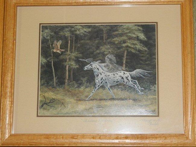 "3 Marguerite Fields Signed Framed Glass Prints 15"" - 2"