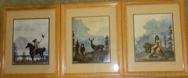 "3 Marguerite Fields Signed Framed Glass Prints 15"""