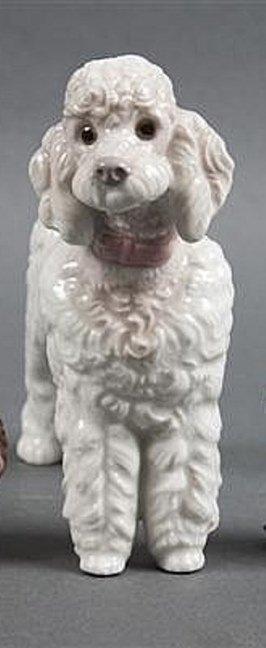 Rare Lladro Porcelain Hand Painted Poodle Dog