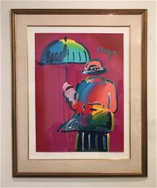 Peter Max Umbrella Man Original Acrylic on paper