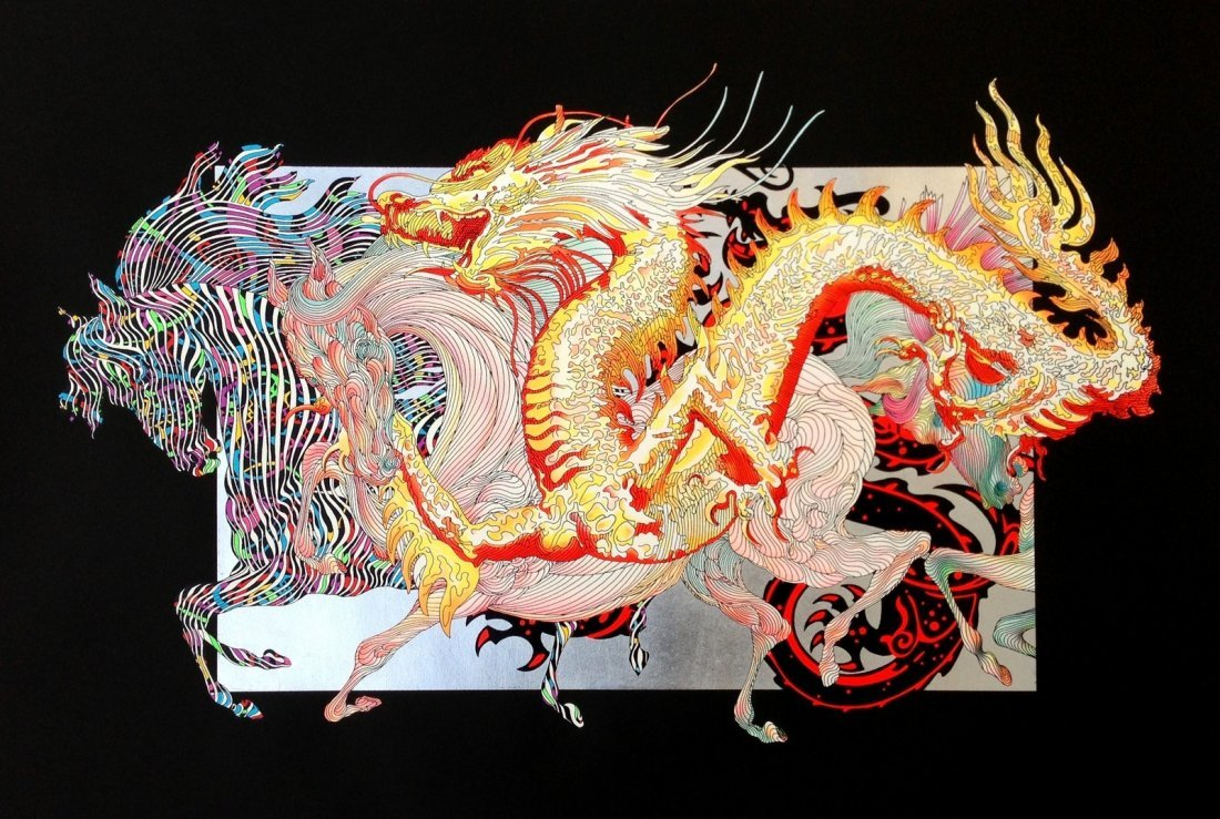"GUILLAUME AZOULAY ""DRAGON DORE"" HAND S/N SERIGRAPH SILV"