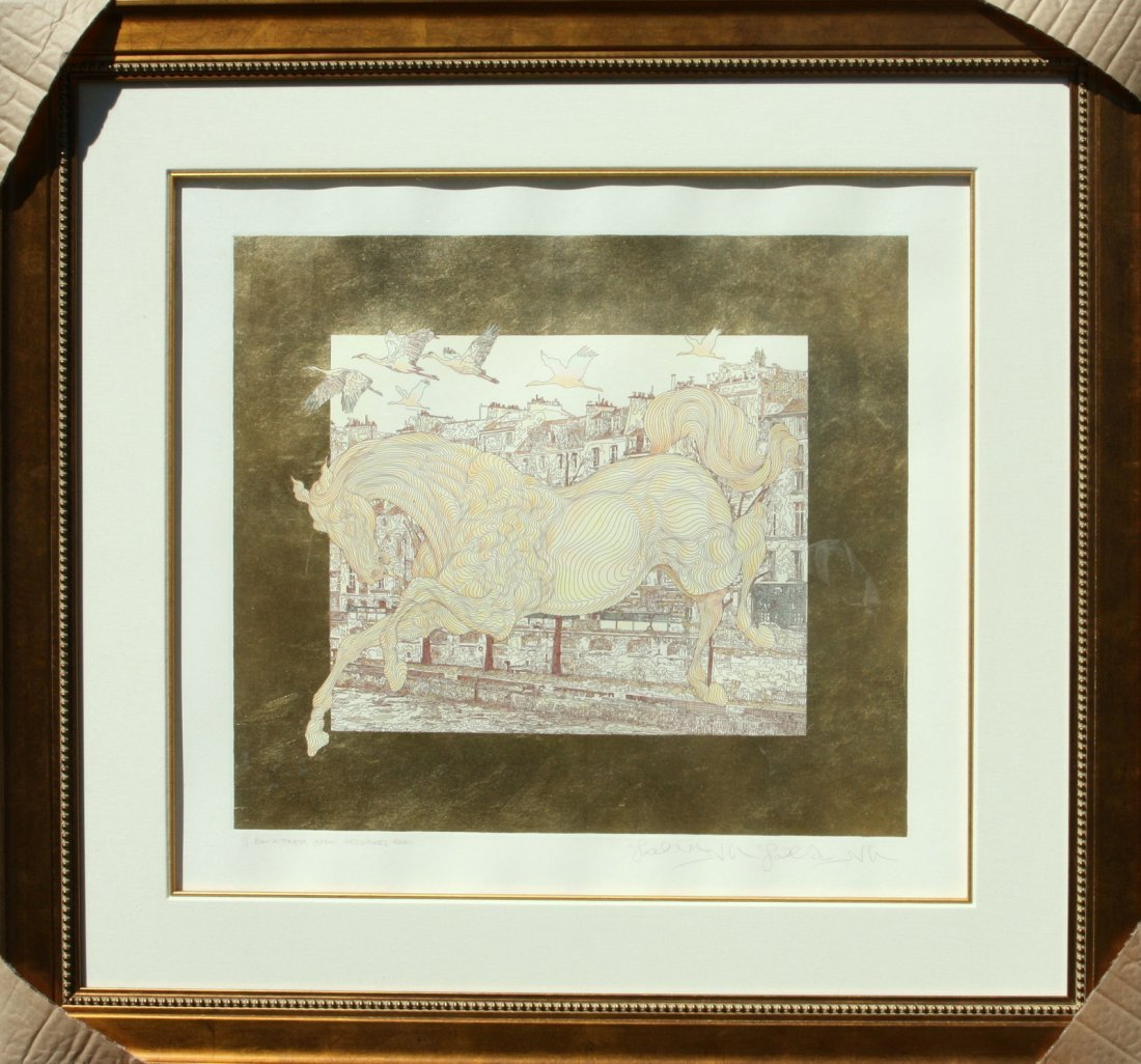 "GUILLAUME AZOULAY ""LES GRUES"" S/N ETCHING GOLD BAT 1/1"