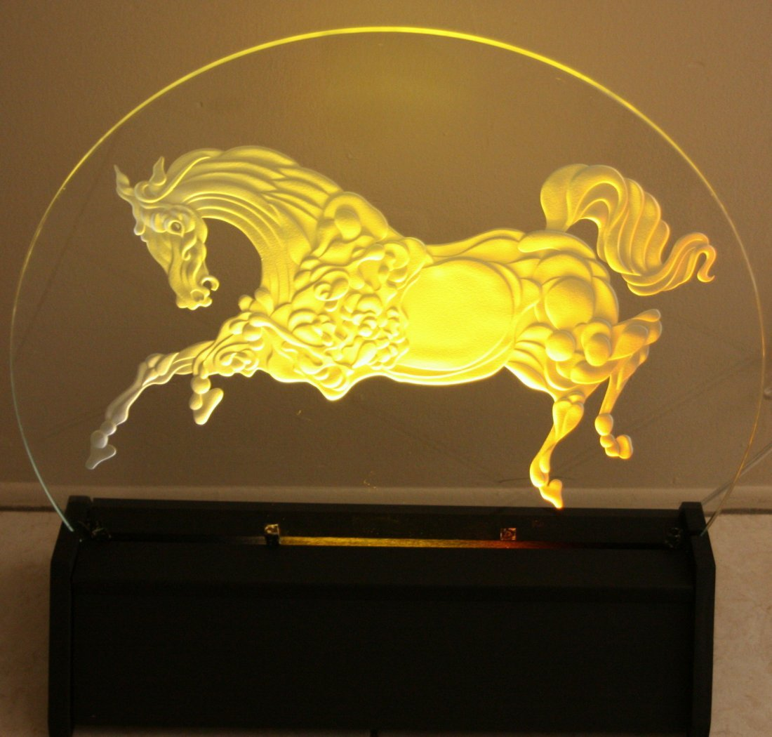 """GUILLAUME AZOULAY """"GOLDEN HORSE"""" CRYSTAL LUMINAIRE"""
