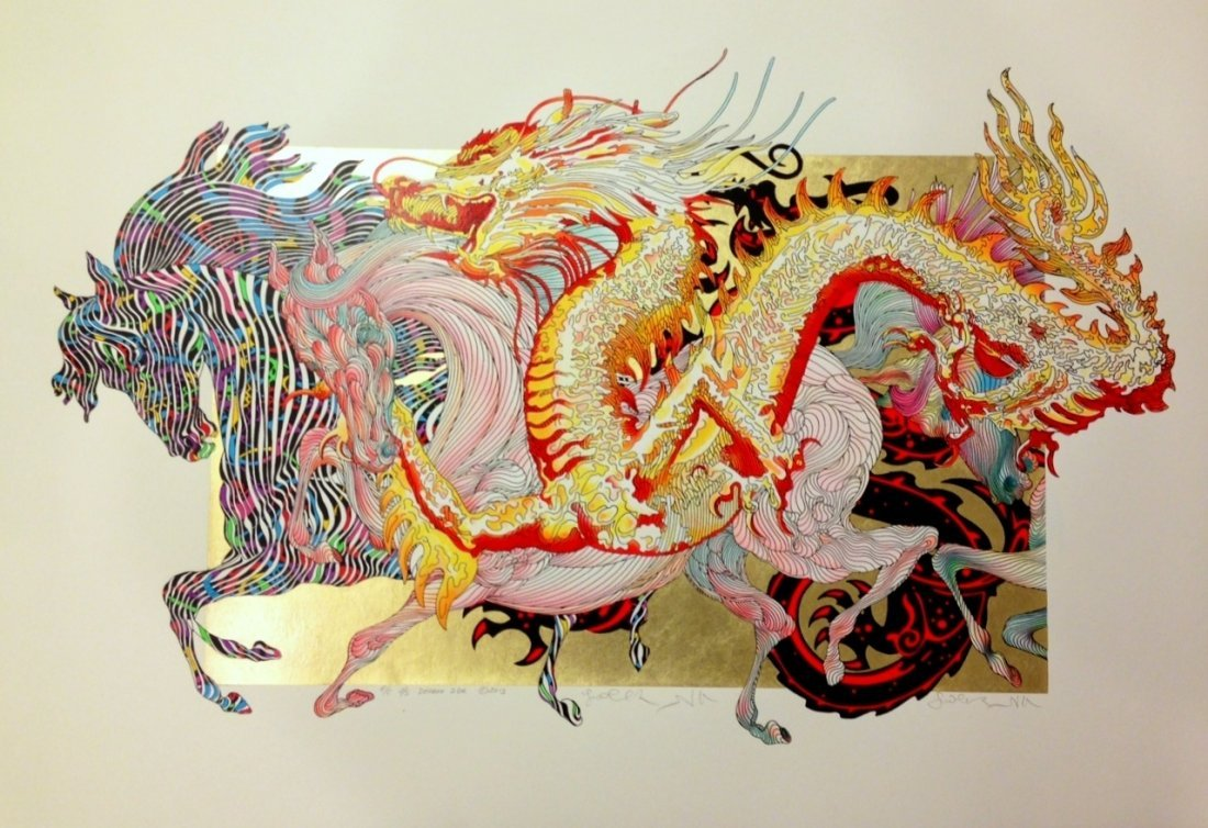 """GUILLAUME AZOULAY """"DRAGON DORE"""" HAND S/N SERIGRAPH GOLD"""