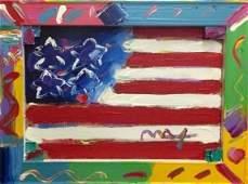 """PETER MAX """"AMERICAN FLAG"""" ORIGINAL"""