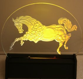 "GUILLAUME AZOULAY ""GOLDEN HORSE"" CRYSTAL LUMINAIRE"
