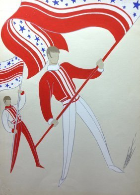 ERTE ORIGINAL ONE OF A KIND GOUACHE ON PAPER
