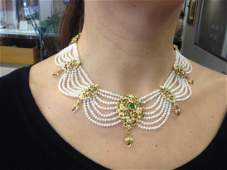 ANTIQUE 22K Y/ GOLD PEARL COLOMBIAN EMERALD NECKLACE