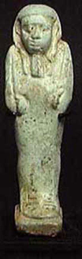 EGYPTIAN FAIENCE U'SHABTI. Late Period, ca. 664-525 BC.