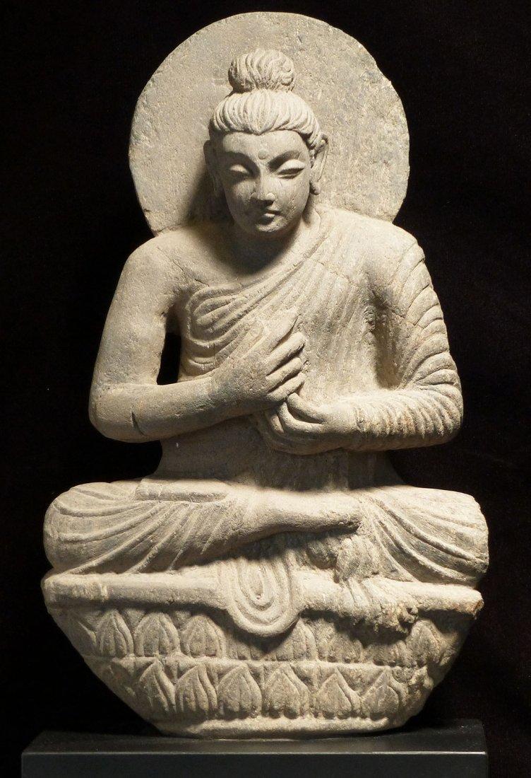 LARGE GANDHARA MEDITATING BUDDHA