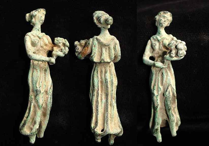 CHARMING GREEK BRONZE MAIDEN WITH FLOWERS