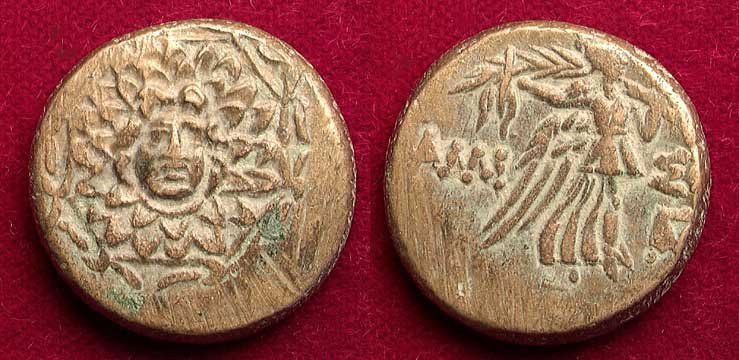 EARLY GREEK COIN WITH MEDUSA HEAD