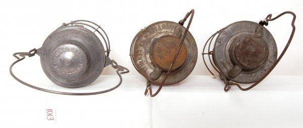 1013: Three New York Central railroad lanterns