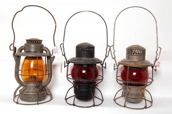1016: Three Railroad lanterns CNR, DLWRR and Penn