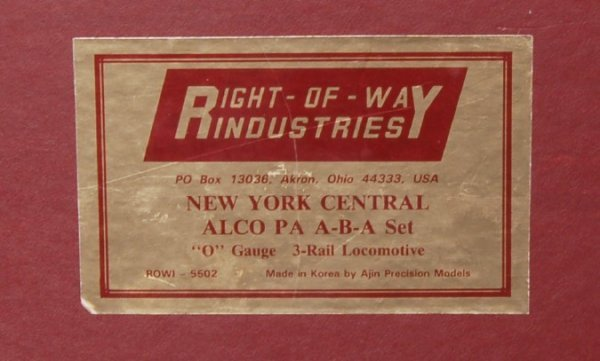 21: Right of Way Industries NYC Alco PA A-B-A set
