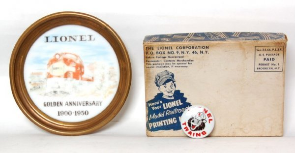 809: Lionel 1950 coaster, sealed Print Kit, Lion pin