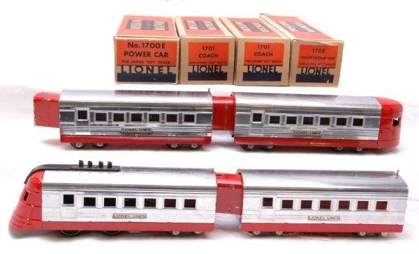2706: Lionel Jr Set Chrome Red 1700E 1701 1702 Boxed