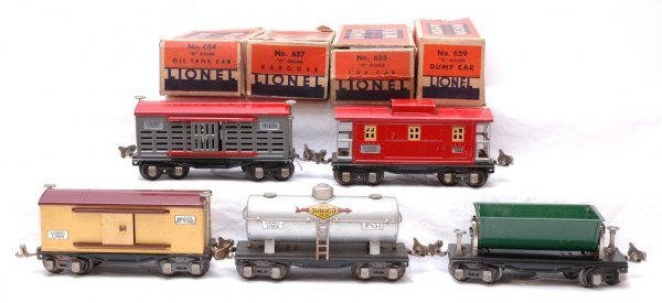 2720: Lionel Freights 654 655 656 659 657 Boxed