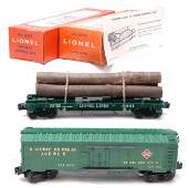 3088 Lionel 6572 REA Refrigerator 6361 Log Car Boxed