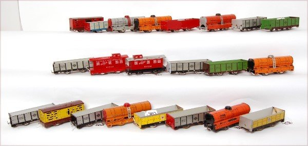 802: Lot of 22 Hafner Overland Flyer freight cars